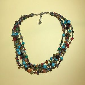 5 Strand Crystal, Stone, Turquoise Beaded Necklace